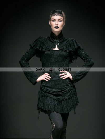 Punk Rave Black Lace Gothic Cape for Women
