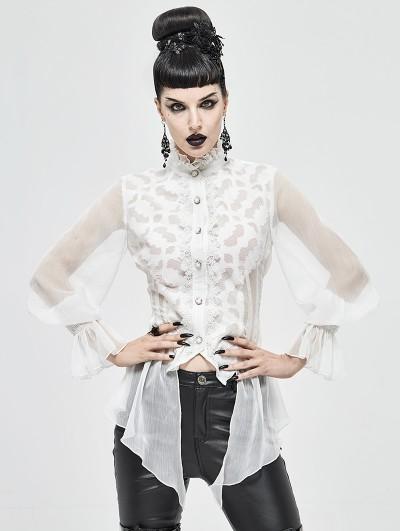 Devil Fashion White Vintage Gothic Sexy Chiffon Long Sleeve Shirt for Women