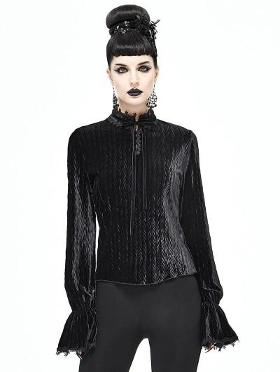 Devil Fashion Black Vintage Gothic Velvet Long Sleeve Shirt for Women