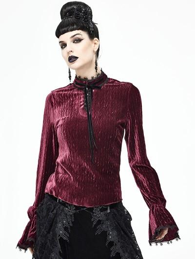 Devil Fashion Red Vintage Gothic Velvet Long Sleeve Shirt for Women