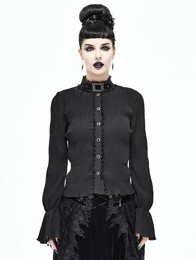 Devil Fashion Black Vintage Gothic Long Sleeve Shirt for Women
