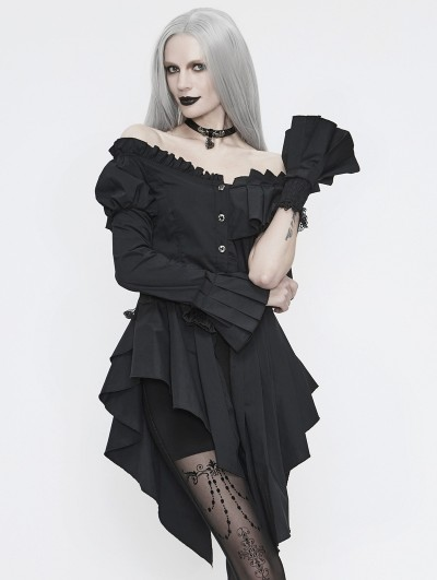Devil Fashion Black Fashion Gothic Off-the-Shoulder Asymmetrical Long Shirt for Women