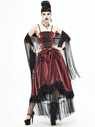 Devil Fashion Red Vintage Gothic Long Prom Party Gown