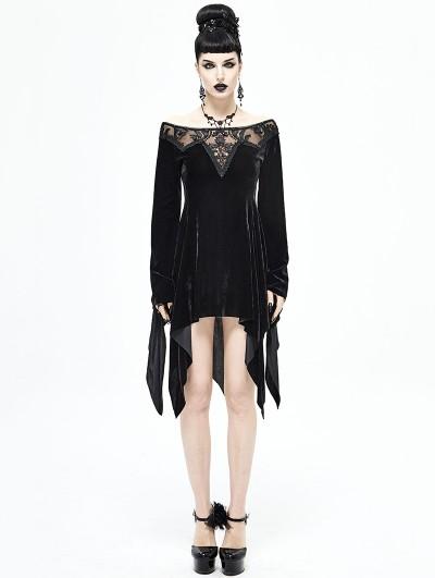 Devil Fashion Black Elegant Gothic Velvet Off-the-Shoulder Short Irregular Dress