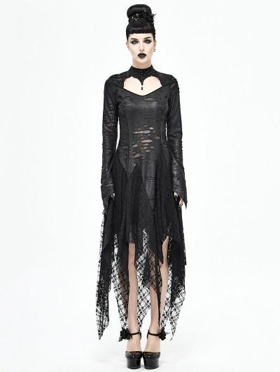Devil Fashion Black Gothic Dark Queen Morticia Addams Long Irregular Dress