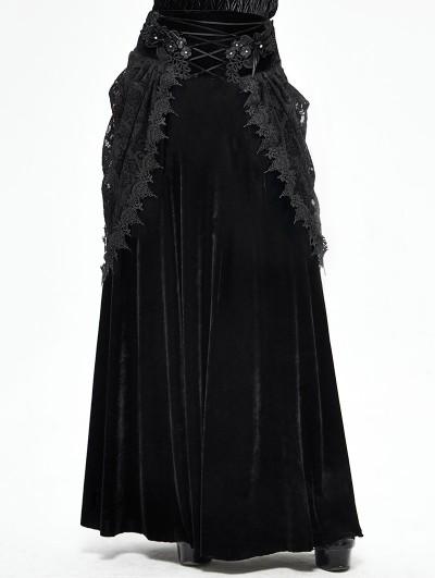 Devil Fashion Black Vintage Gothic Velvet Lace Long Party Skirt
