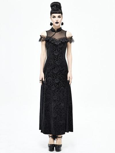 Devil Fashion Black Vintage Sexy Gothic Cheongsam Style Long Dress