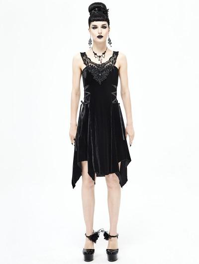 Devil Fashion Black Gothic Velvet Sleeveless Short Irregular Dress