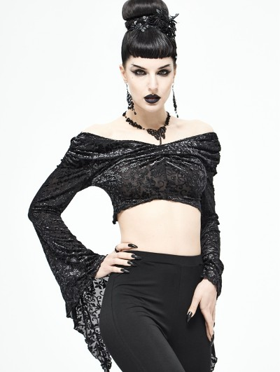 Devil Fashion Black Gothic Sexy Off-the-Shoulder Short Top for Women