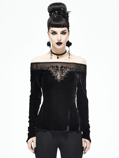 Devil Fashion Black Gothic Sexy Velvet Off-the-Shoulder Long Sleeve Top for Women