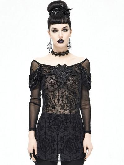 Devil Fashion Black Sexy Gothic Transparent Long Sleeve T-Shirt for Women