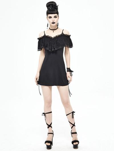 Devil Fashion Black Gothic Off-the-Shoulder Dress Top for Women
