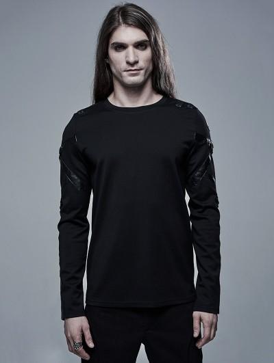 Punk Rave Black Gothic Church Building Structure Long Sleeve T-Shirt for Men