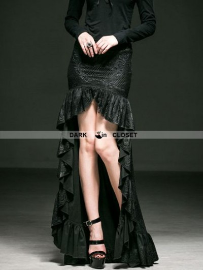 Punk Rave Black Gothic Lace High-Low Tailed Skirt