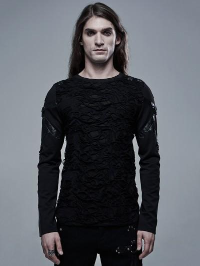 Punk Rave Black Gothic Church Building Structure Broken Long Sleeve T-Shirt for Men