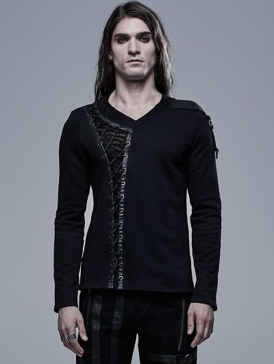 Punk Rave Black Gothic V-Neck Long Sleeve Casual T-Shirt for Men