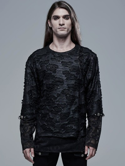 Punk Rave Black Gothic Ghost Head Printed Long Sleeve T-Shirt for Men