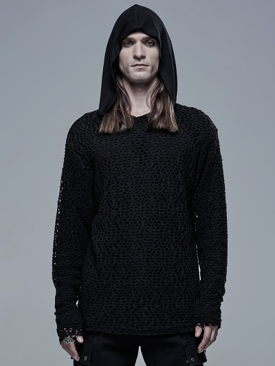 Punk Rave Black Gothic Simple Hooded Two-Pieces T-Shirt for Men