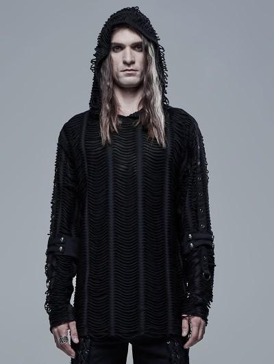 Punk Rave Black Gothic Loose Knit Hoodie for Men