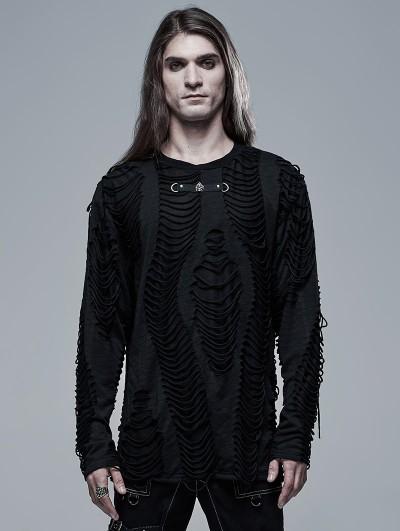 Punk Rave Black Gothic Punk Broken Long Sleeve Daily Wear T-Shirt for Men