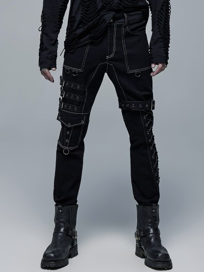Punk Rave Black and White Gothic Punk Metal Straight Long Pants for Men
