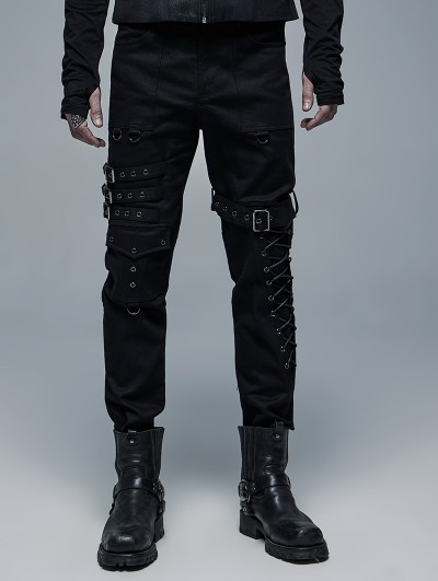 Punk Rave Black Gothic Punk Metal Straight Long Pants for Men