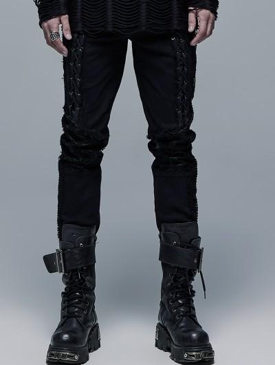 Punk Rave Black Gothic Punk Decadent Long Pants for Men