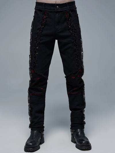 Punk Rave Black and Red Gothic Punk Decadent Long Pants for Men