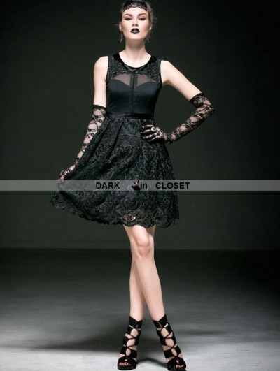 Punk Rave Fashion Black Sleeveless Lace Gothic Party Dress