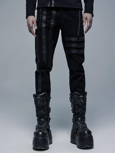 Punk Rave Black Gothic Punk Belt Daily Wear Long Pants for Men