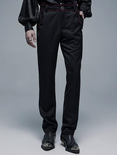 Punk Rave Black and Red Gothic Cout Bat Pocket Long Pants for Men