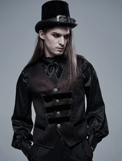 Punk Rave Dark Red Striped Vintage Gothic Vest for Men