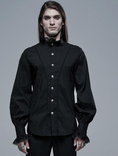 Punk Rave Black Retro Gothic Aristocratic Long Sleeve Shirt for Men