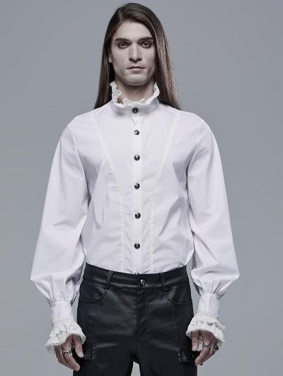Punk Rave White Retro Gothic Aristocratic Long Sleeve Shirt for Men