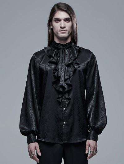 Punk Rave Black Retro Gothic Vampire Count Long Sleeve Shirt for Men
