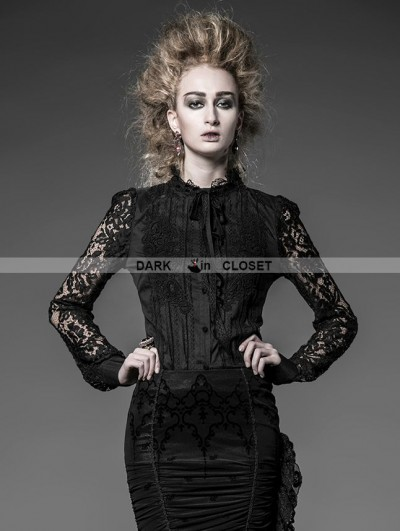 Punk Rave Black Cotton and Lace Gothic Blouse for Women