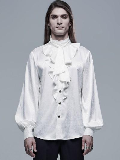 Punk Rave White Retro Gothic Vampire Count Long Sleeve Shirt for Men