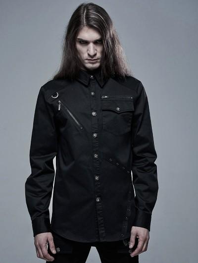 Punk Rave Black Gothic Punk Military Long Sleeve Shirt for Men