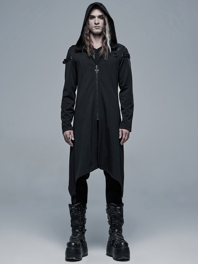 Punk Rave Black Gothic Dark Church Structure Long Hooded Trench Coat for Men