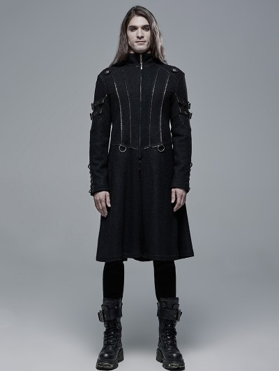 Punk Rave Black Gothic Punk Military Casual Mid Length Coat for Men