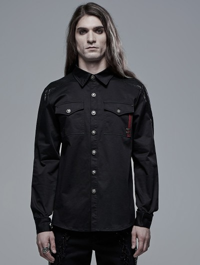 Punk Rave Black Gothic Spliced Long Sleeve Daily Wear Shirt for Men