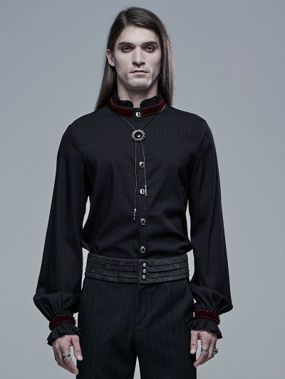 Punk Rave Black and Red Retro Gothic Palace Long Sleeve Shirt for Men