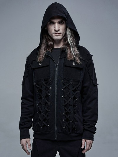 Punk Rave Black Gothic Daily Wear Hooed Cardican for Men
