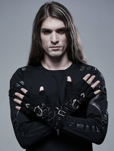 Punk Rave Black Gothic Punk Cool Gloves for Men