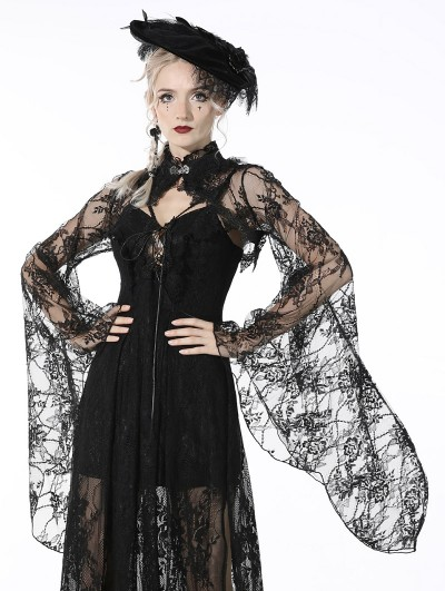 Dark in Love Black Gothic Lace Bell Sleeves Cape for Women
