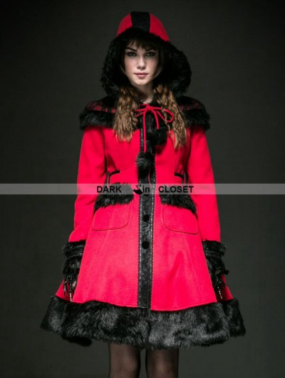 Punk Rave Red Woolen Lolita Coat with Hat