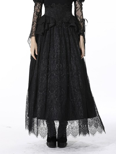 Dark in Love Black Gothic Jacquard Lace Empire Waist Long Party Skirt