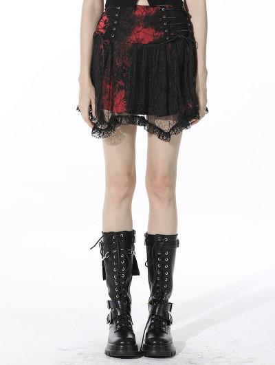 Dark in Love Black and Red Gothic Punk Mesh Irregular Mini Skirt
