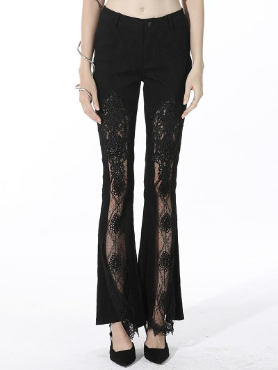Dark in Love Black Sexy Gothic Lace Daily Wear Long Bell Trousers for Women