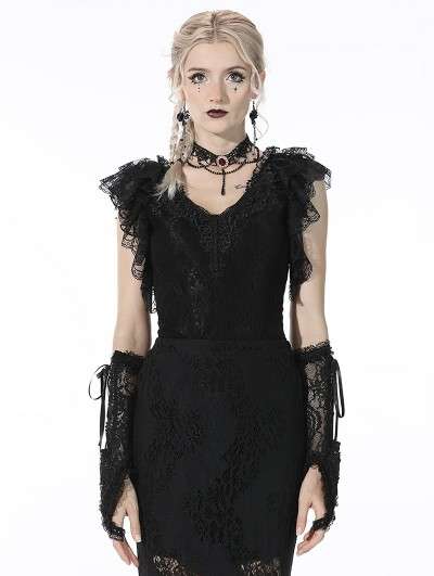 Dark in Love Black Gothic Lace Short Sleeves Daily Wear Top for Women